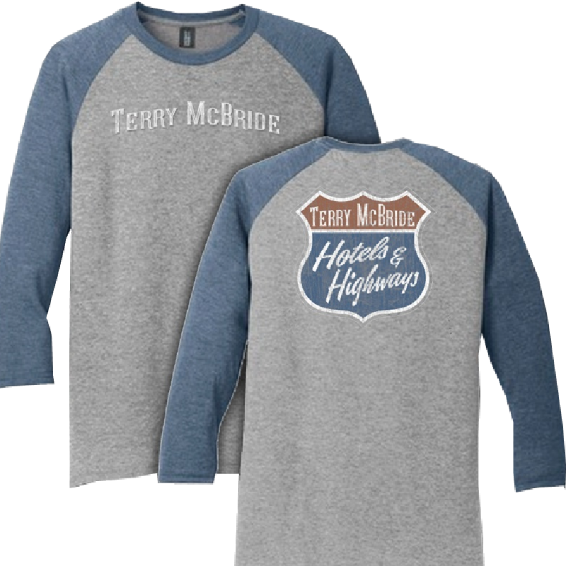 Terry McBride Grey and Navy Frost Raglan Tee