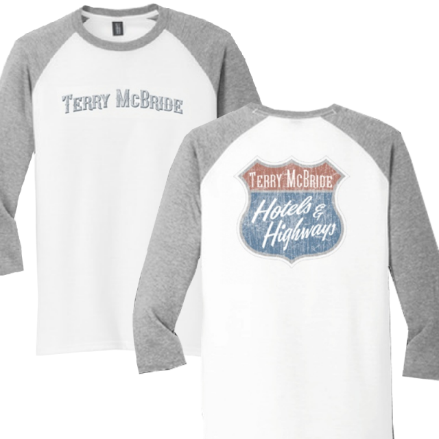 Terry McBride White and Grey Frost Raglan Tee